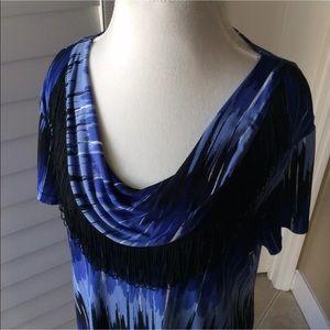 Style & Co Fringe Dress | Draped Neck Blue & Black